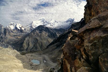 alpamayo: Beautiful landscape around Alpamayo, one of highest mountain peaks in Peruvian Andes, Cordillera Blanca