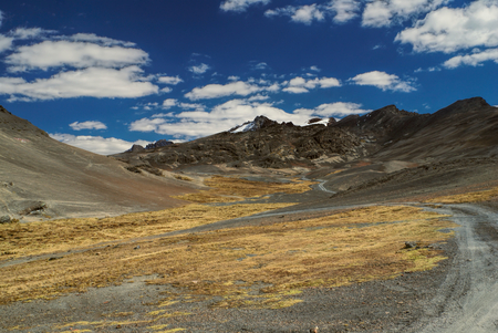 Trail leading into the Andes mountains in Bolivia, Choro trek Imagens