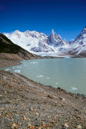 los glaciares: Picturesque view of rocky shore in Los Glaciares National Park Stock Photo