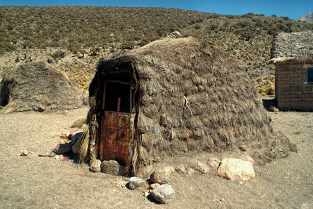 sajama: Traditional hut of indigenous people in Sajama national park Stock Photo