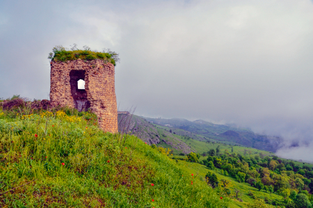 Ruins of old stone structure in mountainous Karabakh destroyed by war photo