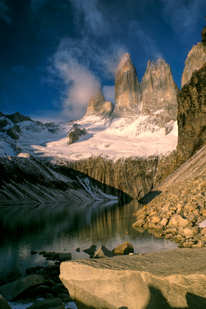torres del paine: Picturesque view of Torres del Paine in south American Andes