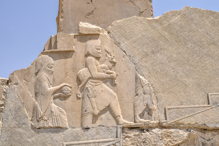 fars: Figures on walls of ancient persian capital Persepolis in current Iran Editorial