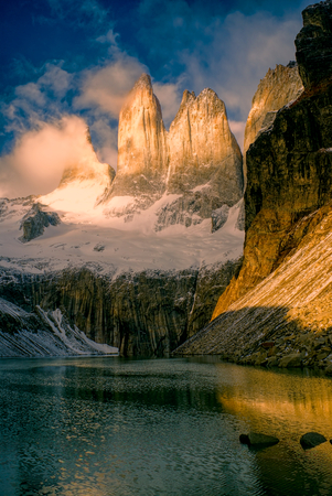 torres del paine: Scenic view of Torres del Paine in south American Andes