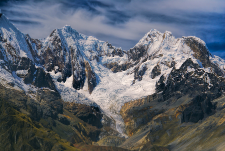 Majestic peaks around Alpamayo, one of highest mountain peaks in Peruvian Andes, Cordillera Blanca
