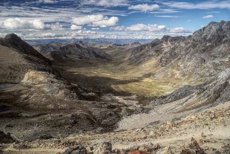 alpamayo: Scenic valleys around Alpamayo, one of highest mountain peaks in Peruvian Andes, Cordillera Blanca Stock Photo
