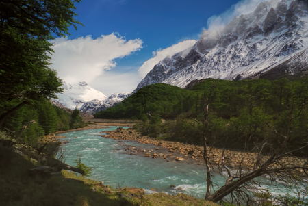 los glaciares: Magnificent view of snowy mountains in Los Glaciares National Park