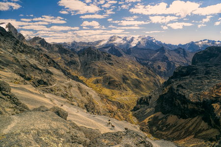Amazing landscape of Andes mountains in Bolivia on Choro trek
