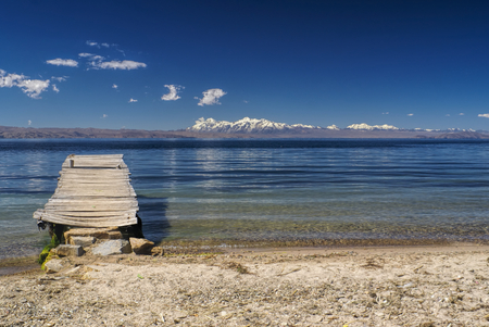 old pier: Old pier on the coast of Isla del Sol, island on lake Titicaca in Bolivia