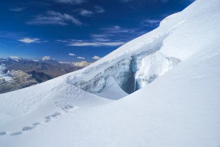 crevasse: Crevasse in glacier near top of Huayna Potosi mountain in Bolivia Stock Photo