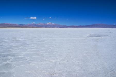 salina: Scenic view of salt planes Salina Grandes in Argentina Stock Photo
