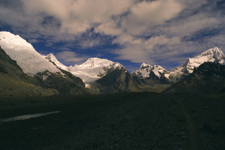 Scenic view of highest mountain peaks in Peruvian Andes, Cordillera Blanca