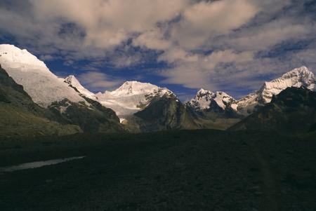 alpamayo: Scenic view of highest mountain peaks in Peruvian Andes, Cordillera Blanca