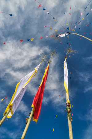 devi: Colorful buddhist prayer flags and standards on poles in Pathivara Devi, Nepal