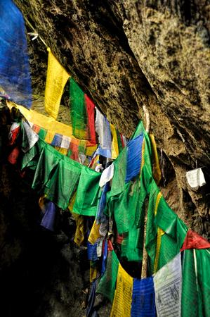 arunachal pradesh: Colorful buddhist prayer flags in Arunachal Pradesh, India