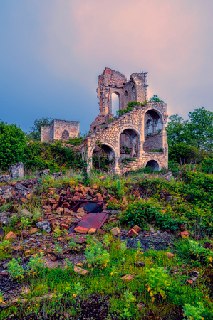 Ruins of old villa in mountainous Karabakh destroyed by war photo