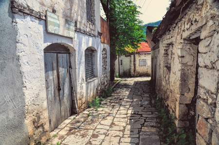 Old narrow street in a town in Nagorno Karabakh photo