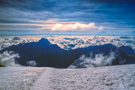 Breathtaking morning view from near top of Huayna Potosi mountain in Bolivia