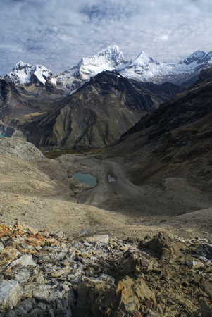 Beautiful landscape around Alpamayo, one of highest mountain peaks in Peruvian Andes, Cordillera Blanca
