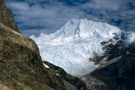 Scenic view of Alpamayo, one of highest mountain peaks in Peruvian Andes, Cordillera Blanca