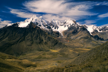 alpamayo: Majestic Alpamayo, one of highest mountain peaks in Peruvian Andes, Cordillera Blanca Stock Photo