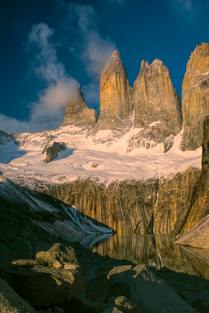 torres del paine: Amazing view of Torres del Paine in south American Andes