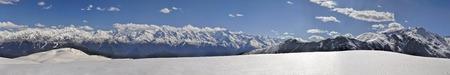 svaneti: Scenic panorama of Caucasus mountains covered in snow, Svaneti, Georgia Stock Photo