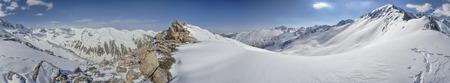 kackar: Scenic panorama of snowy slopes of Kackar Mountains in Turkey Stock Photo