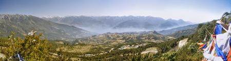 arunachal pradesh: Scenic panorama of green valley in Arunachal Pradesh region, India