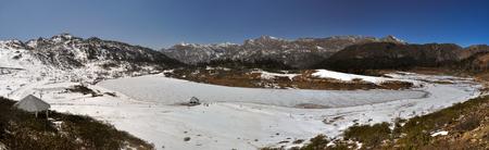 frozen lake: Scenic panorama of frozen lake in Arunachal Pradesh region, India