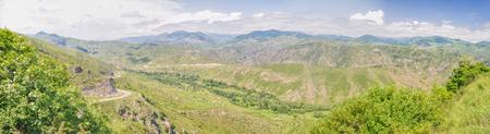 Scenic panorama of green landscape in mountainous Karabakh photo