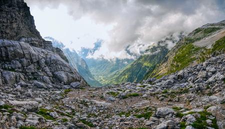 julian: Scenic panorama view of mountains in Julian Alps, Slovenia