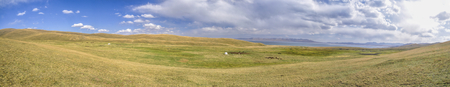 lake dwelling: Scenic panorama of green grasslands in Kyrgyzstan with traditional namodic yurt