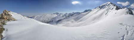 kackar: Scenic panorama of snow covered Kackar Mountains in Turkey Stock Photo