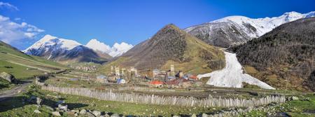 svaneti: Small town in Georgia, Svaneti with traditional stone towers, symbol of the region Foto de archivo