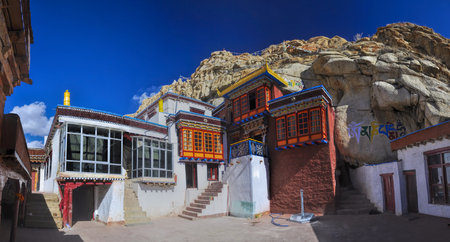 tibetan house: Picturesque view of traditional housing in Ladakh, India Editorial