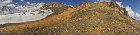 guides: Scenic panorama with mountain guides in Dolpo region in Himalayas, Nepal Stock Photo