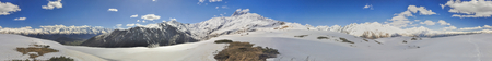 mestia: Scenic panorama of Caucasus mountains covered in snow, Svaneti, Georgia Stock Photo