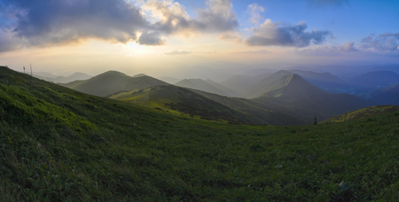 Picturesque view of sunset in Mala Fatra mountains in Slovakia photo