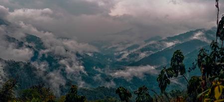 arunachal pradesh: Scenic panorama of cloudy valley in Arunachal Pradesh, India Stock Photo