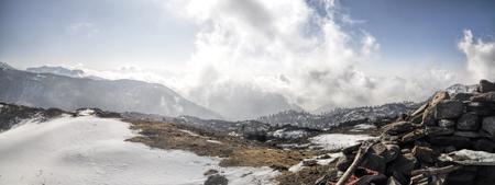 arunachal pradesh: Scenic view of cloudy mountains in Arunachal Pradesh region, India Stock Photo