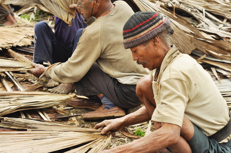 Nagaland, India - March 2012: Group of men work with dried leafs in Nagaland, remote region of India. Documentary editorial. Editorial