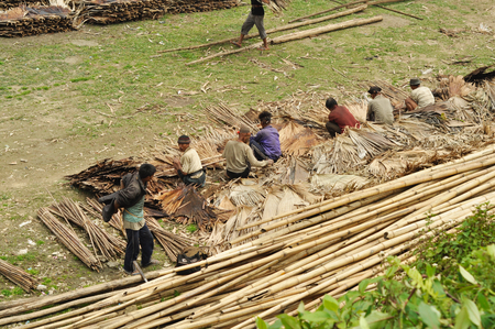 nagaland: Nagaland, India - March 2012: Group of men work hard in Nagaland, remote region of India. Documentary editorial. Editorial