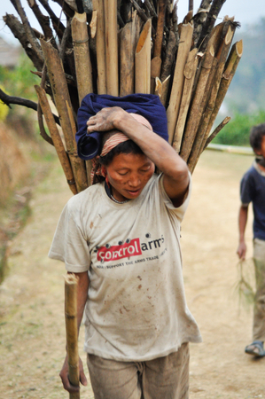 nagaland: Nagaland, India - March 2012: Young woman carries heavy load in Nagaland, remote region of India. Documentary editorial.