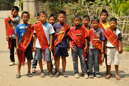 Nagaland, India - March 2012: Group of boys in Nagaland, remote region of India. Documentary editorial.