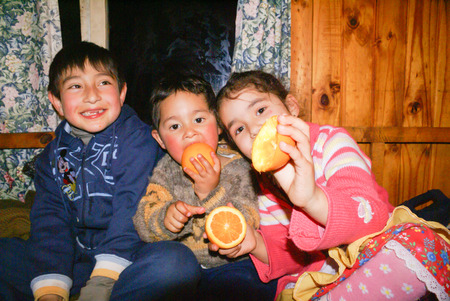 documentary: Isla Laitec, Chile - September 2008: Small native children eat oranges in wooden house in Chile. Documentary editorial.