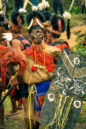 Mon, Nagaland - April 2012: Man in traditional costume with large hat and with black colour on his face holds protective shield during performance at Aoleang festival in Mon, Nagaland. This festival showcases rich cultural heritage of this country. Docume