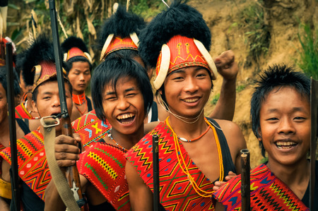 nagaland: Mon, Nagaland - April 2012: Young boys at traditional Aoleang festival in Mon, Nagaland. This festival showcases rich cultural heritage with indigenous dances, songs and games. Documentary editorial.