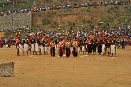 Mon, Nagaland - April 2012: Photo of native people in traditional costumes during their performance at Aoleang festival in Mon, Nagaland. This festival showcases rich cultural heritage of this country. Documentary editorial.