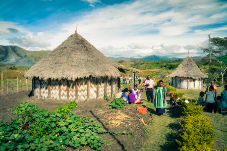 Sara village, Papua New Guinea - July 2015: Native people stand in their garden near their house on beautiful sunny day and look to photocamera at Sara village in Papua New Guinea. Documentary editorial.